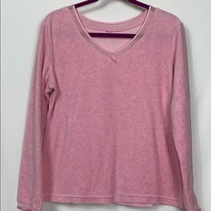 Pink long sleeved top, 76% cotton, 24% polyester